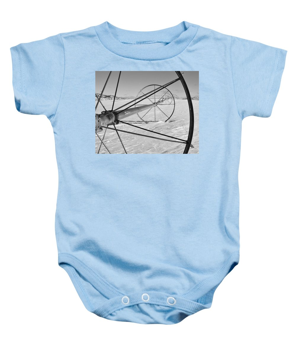 Farm Prints Baby Onesie featuring the photograph Irrigation Pipe In Winter by Theresa Tahara