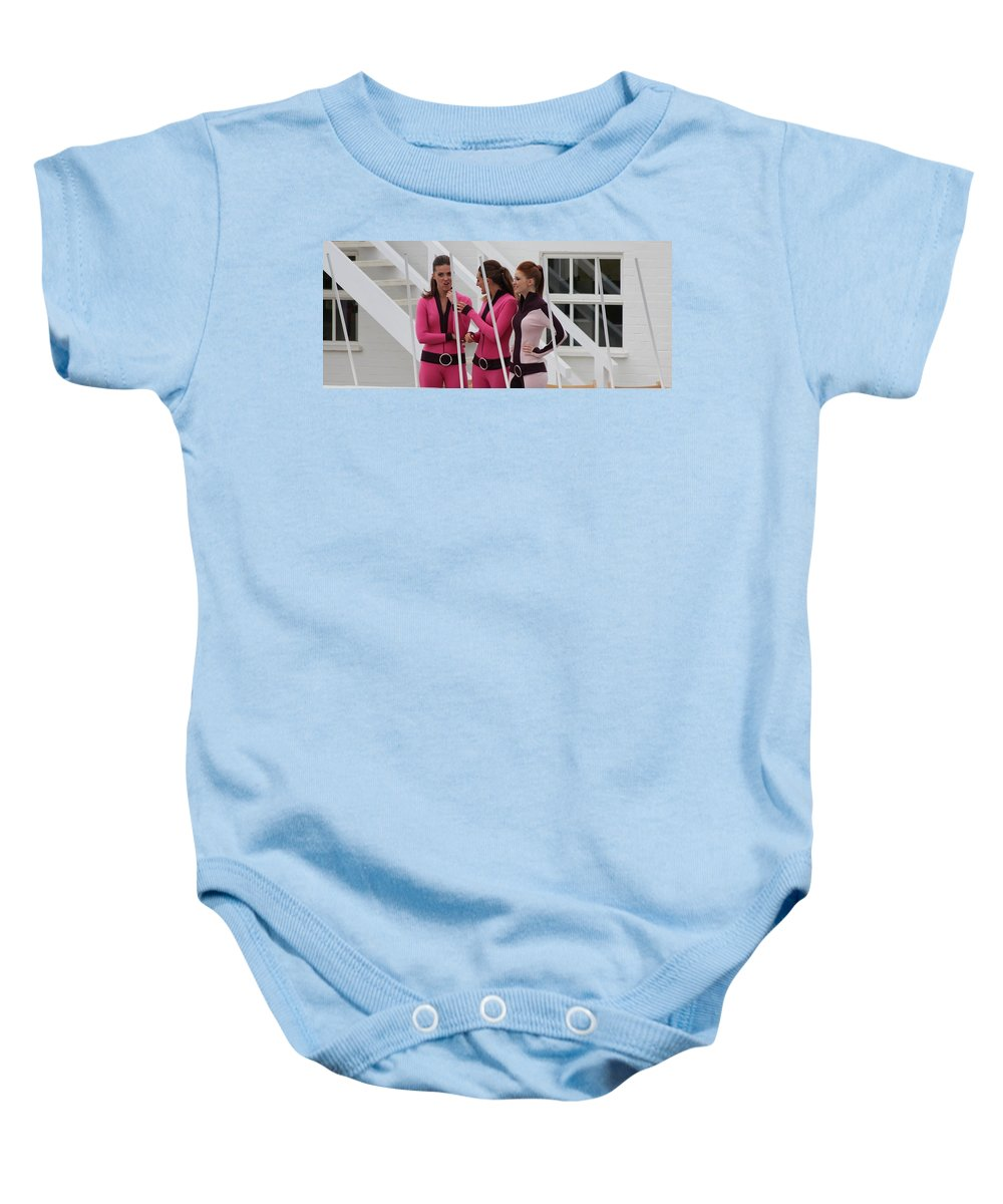 Pit Lane Girls Baby Onesie featuring the photograph It Was This Big by Robert Phelan