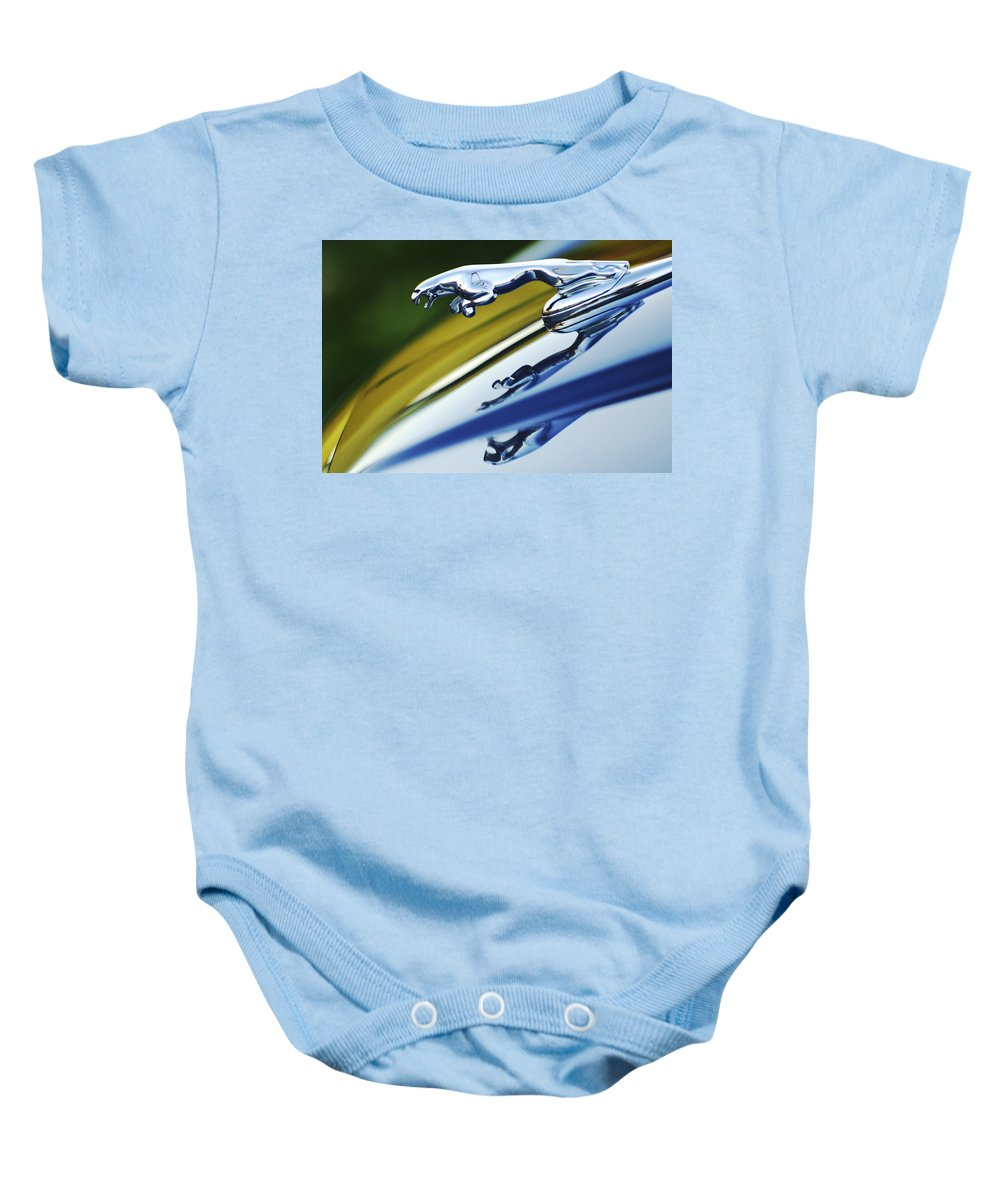 Car Baby Onesie featuring the photograph Jaguar Car Hood Ornament by Jill Reger
