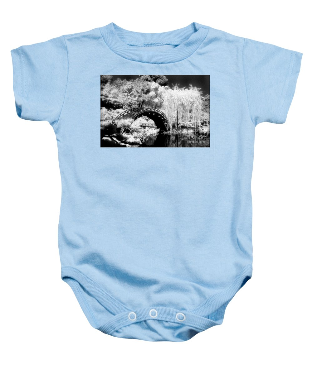 Infrared Baby Onesie featuring the photograph Japanese Gardens And Bridge by Paul W Faust - Impressions of Light