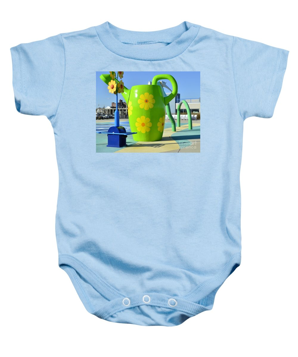 Jersey Shore Baby Onesie featuring the photograph Jersey Shore Kitsch by Allen Beatty