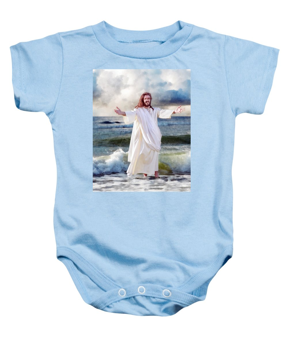 Storm Baby Onesie featuring the digital art Jesus On The Sea by Francesa Miller