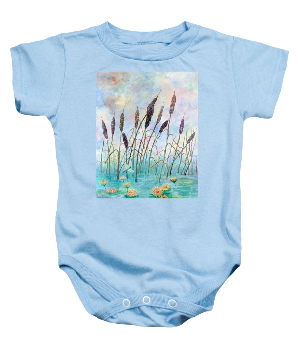 Pond Baby Onesie featuring the painting Joy Of Summer by Ben Kiger