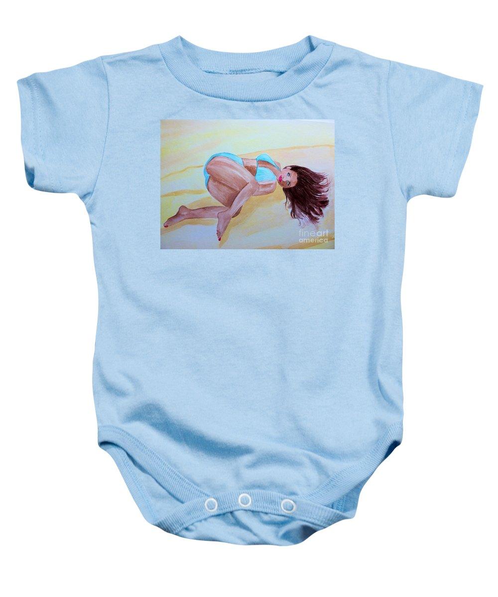 Baby Onesie featuring the drawing June Sandy Beach by Melissa Darnell Glowacki