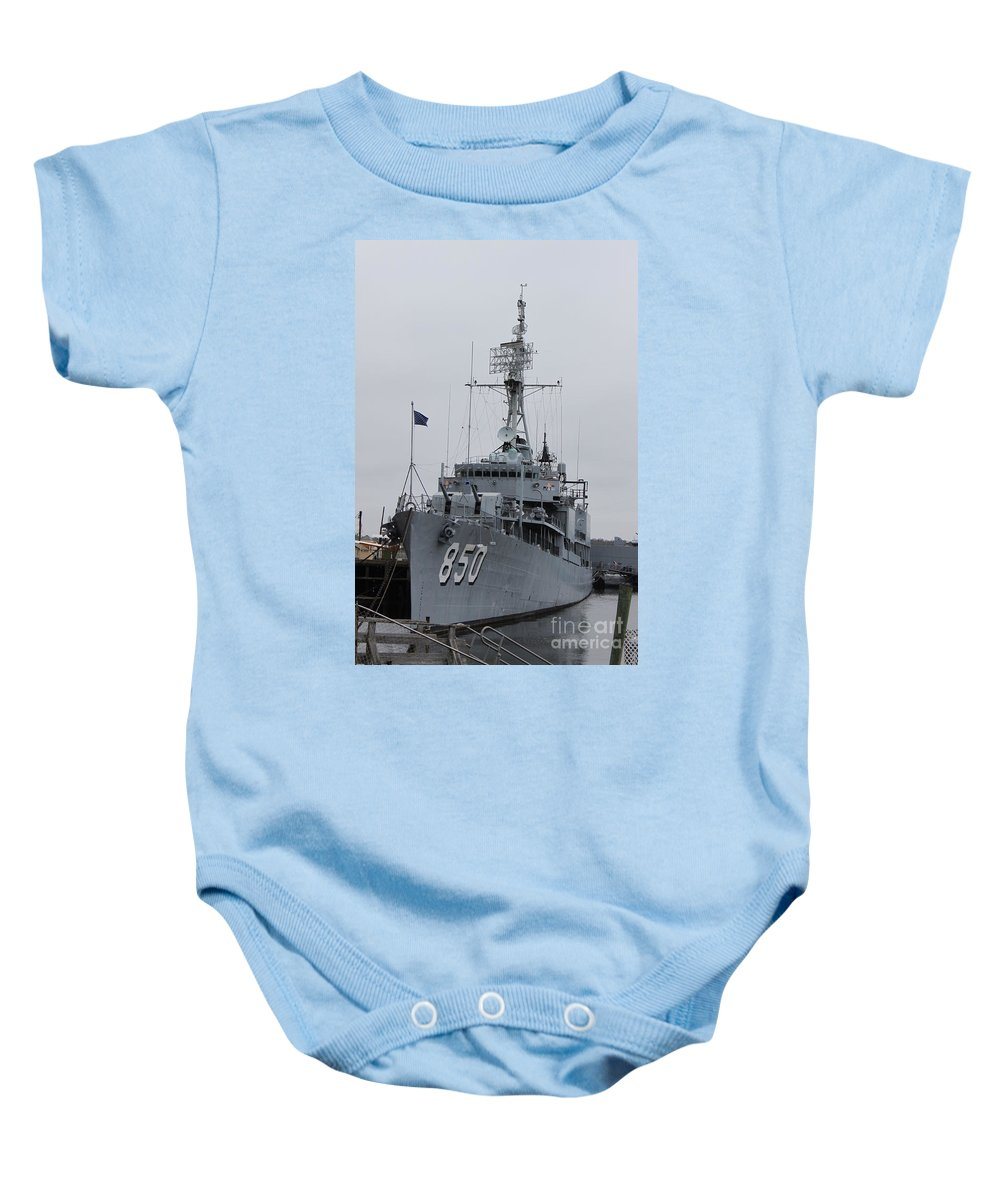 Gearing-class Destroyer Baby Onesie featuring the photograph Just Another Battleship Photo Of The Uss Joseph P Kennedy Jr by Jennifer E Doll