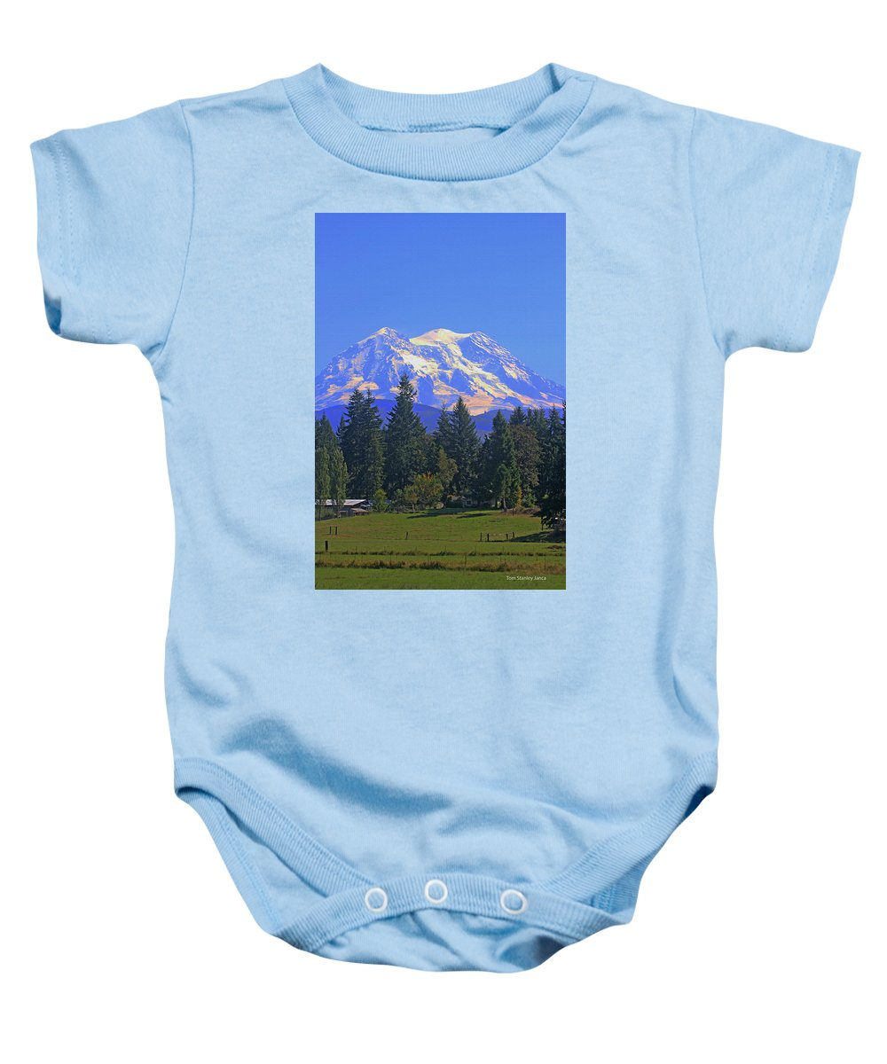 Just Over The Hill Baby Onesie featuring the photograph Just Over The Hill Mt. Rainier by Tom Janca