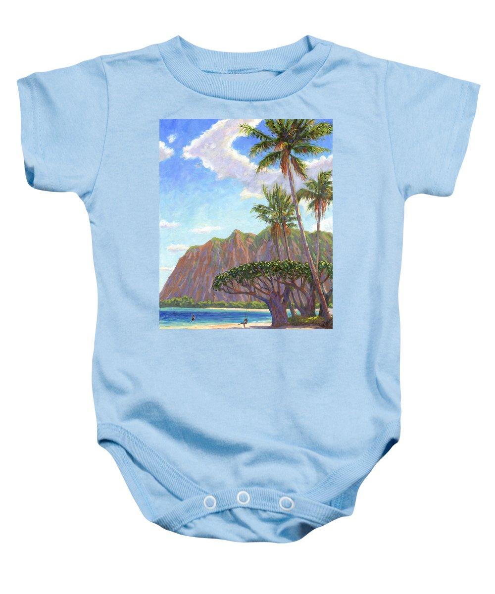 Kaaawa Baby Onesie featuring the painting Kaaawa Beach - Oahu by Steve Simon
