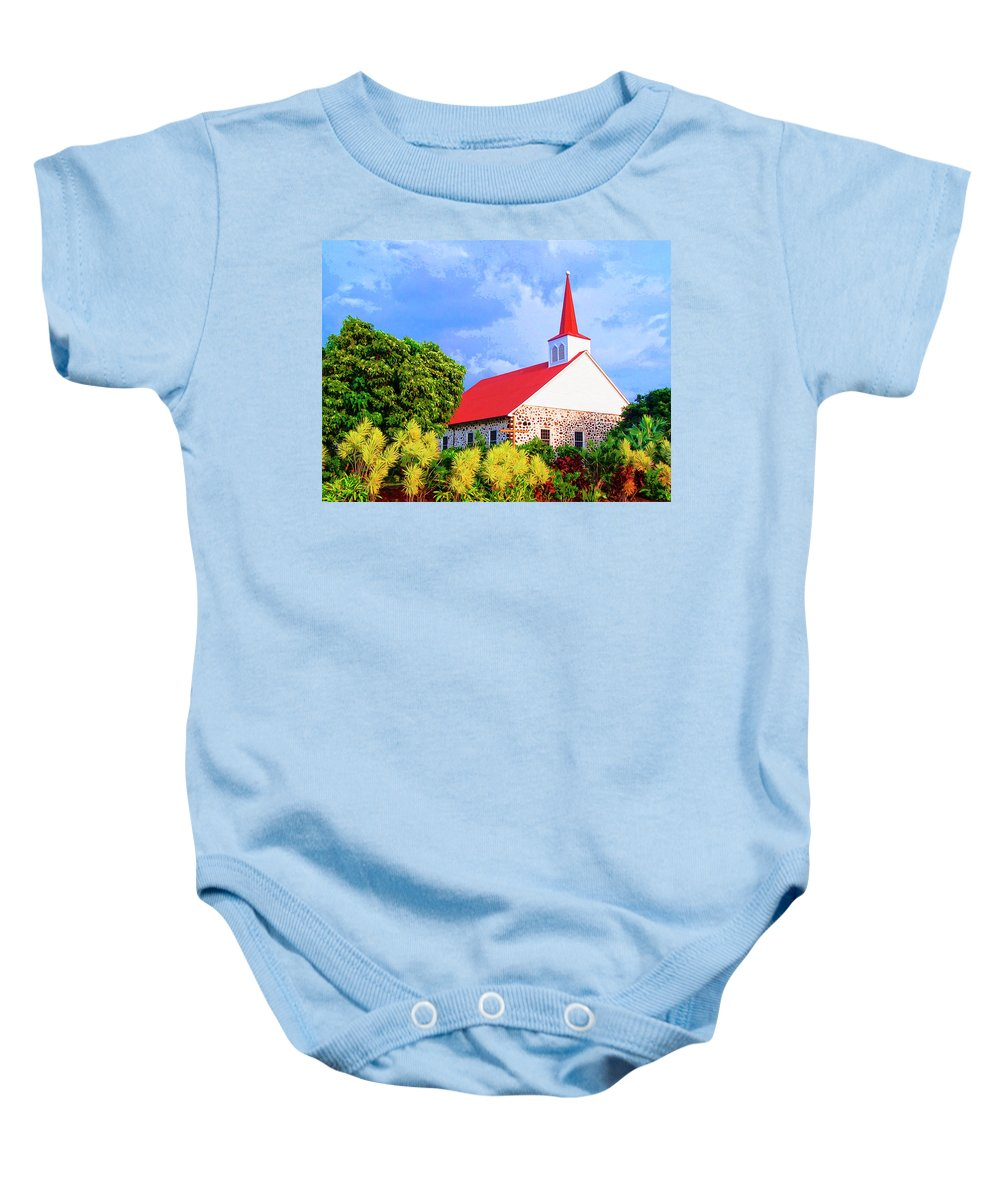 Kahikolu Congregational Baby Onesie featuring the mixed media Kahikolu Congregational by Dominic Piperata
