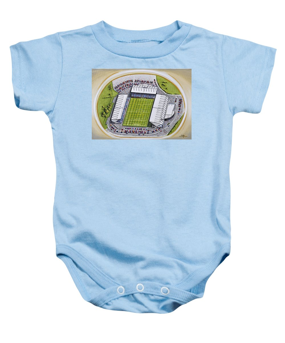 13d3606fd Art Baby Onesie featuring the painting Kassam Stadium - Oxford United by D  J Rogers
