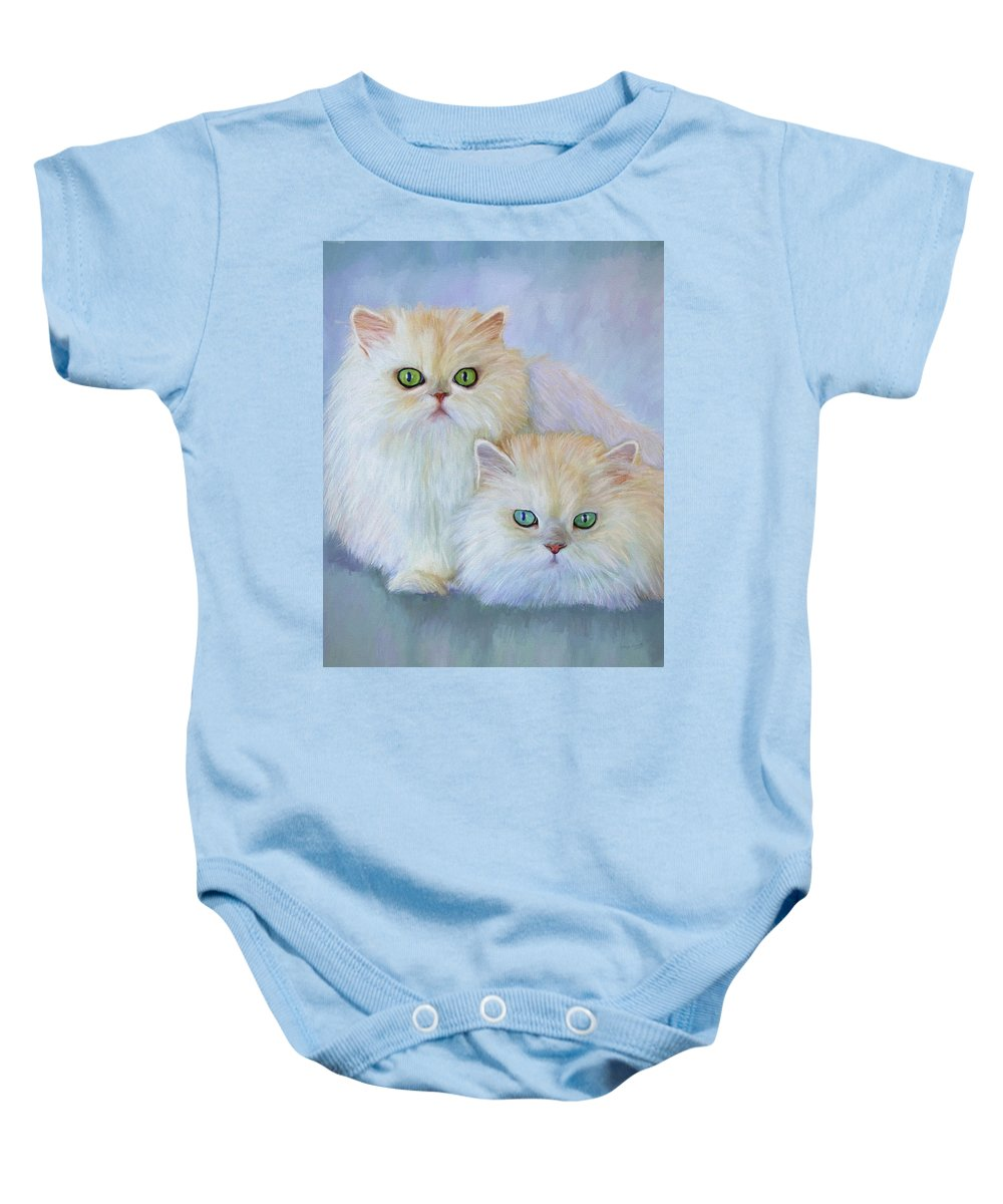 Cat Baby Onesie featuring the painting Katrina And Bjorn by David Wagner