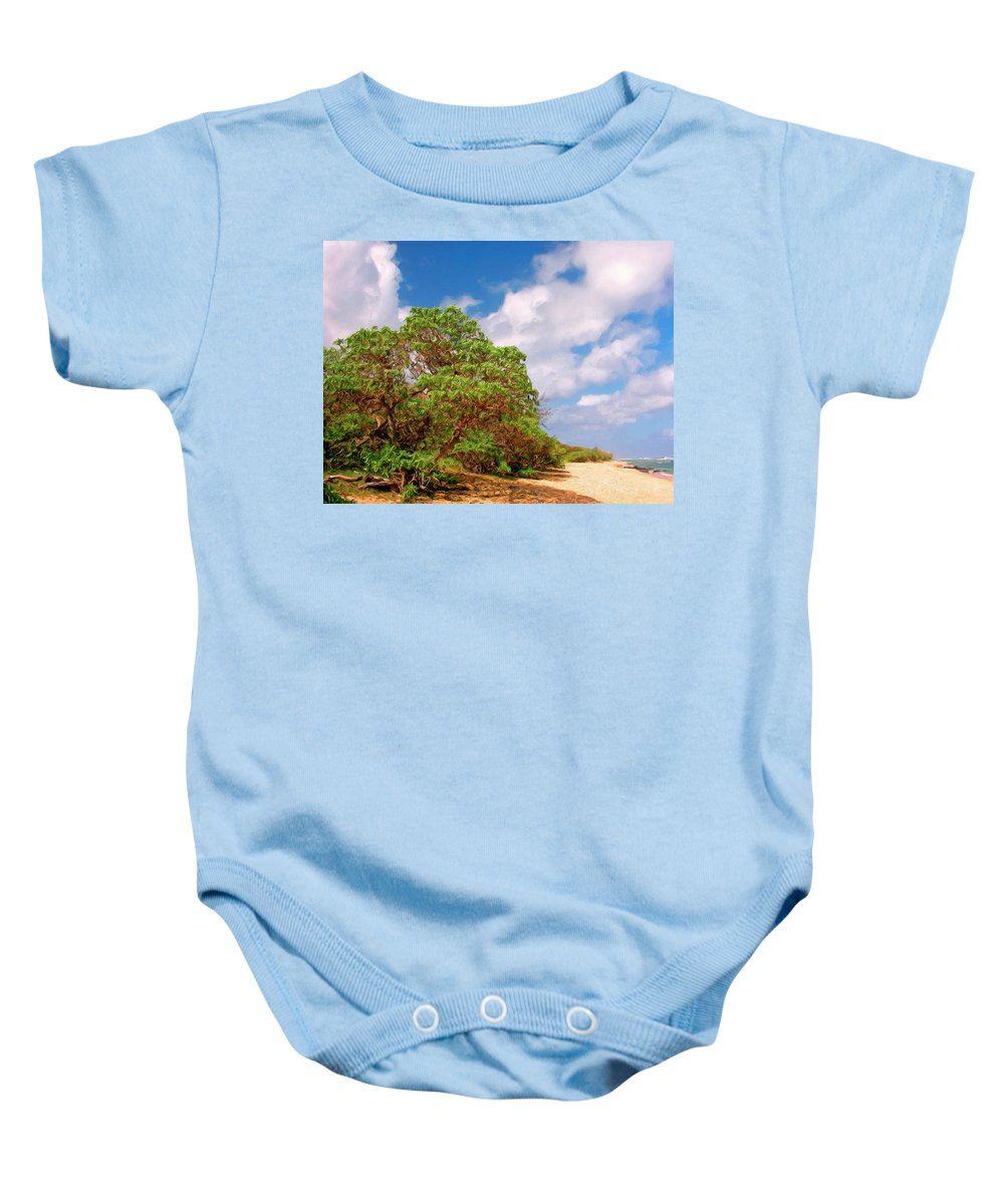 Hawaii Baby Onesie featuring the painting Kauai Beach by Dominic Piperata