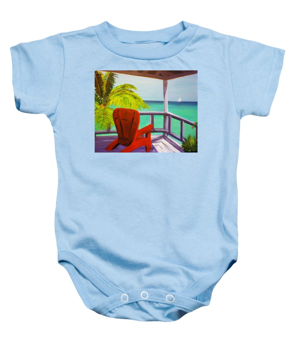 Ocean Baby Onesie featuring the painting Kelly's Beach House by Kelly Simpson
