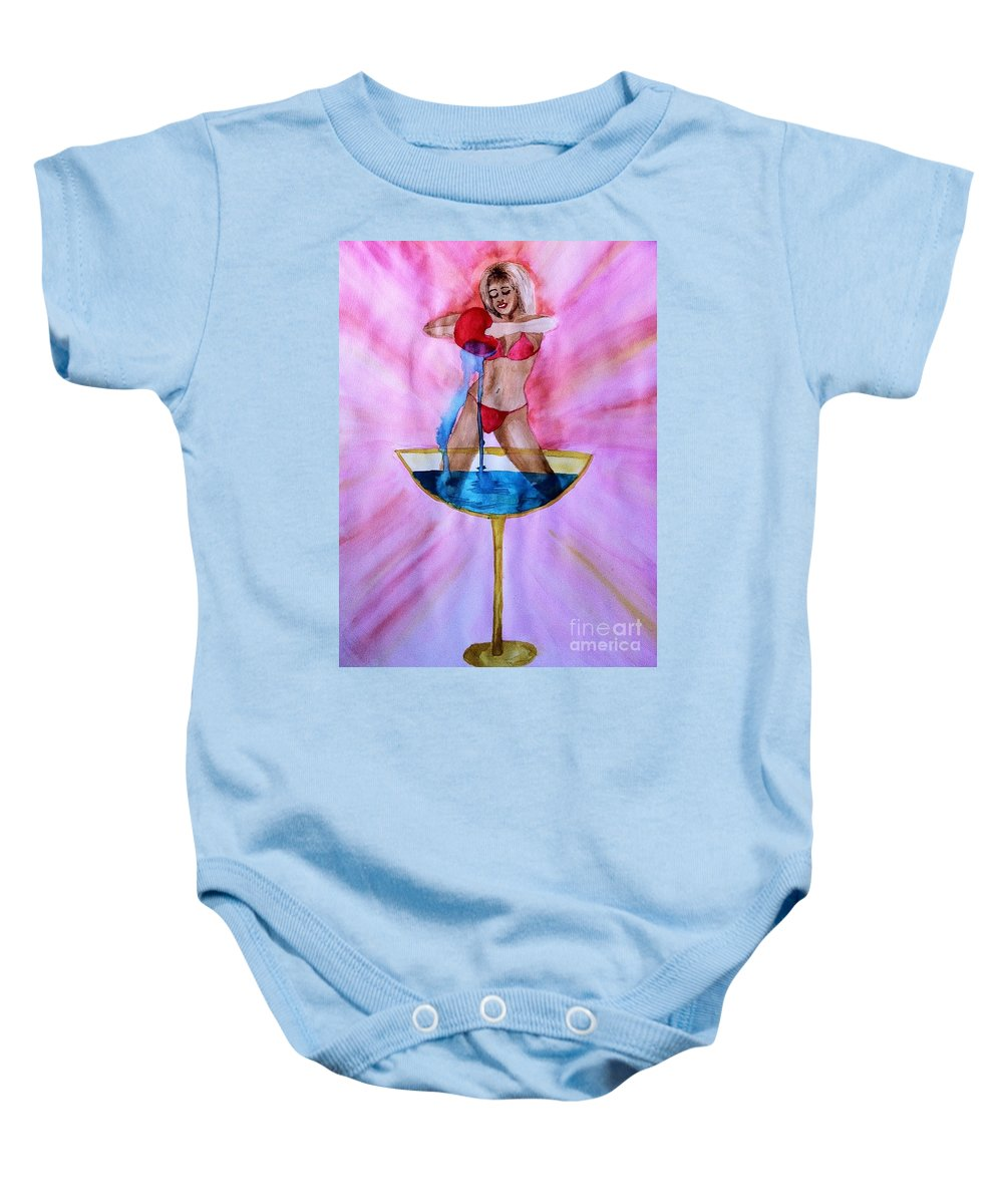 Blonde Baby Onesie featuring the drawing Kerasi by Melissa Darnell Glowacki