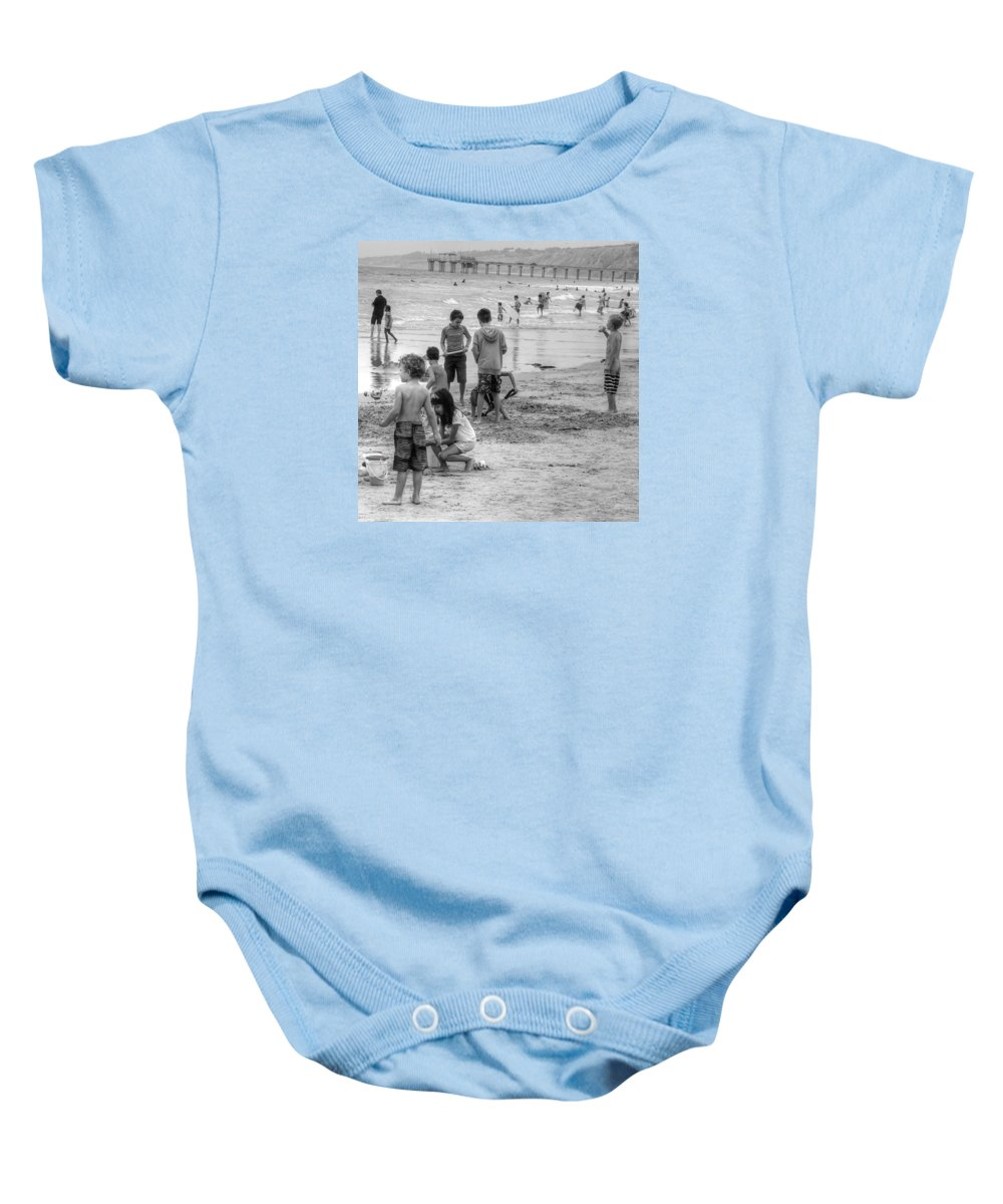 Kids Baby Onesie featuring the photograph Kids At Beach by Bill Hamilton