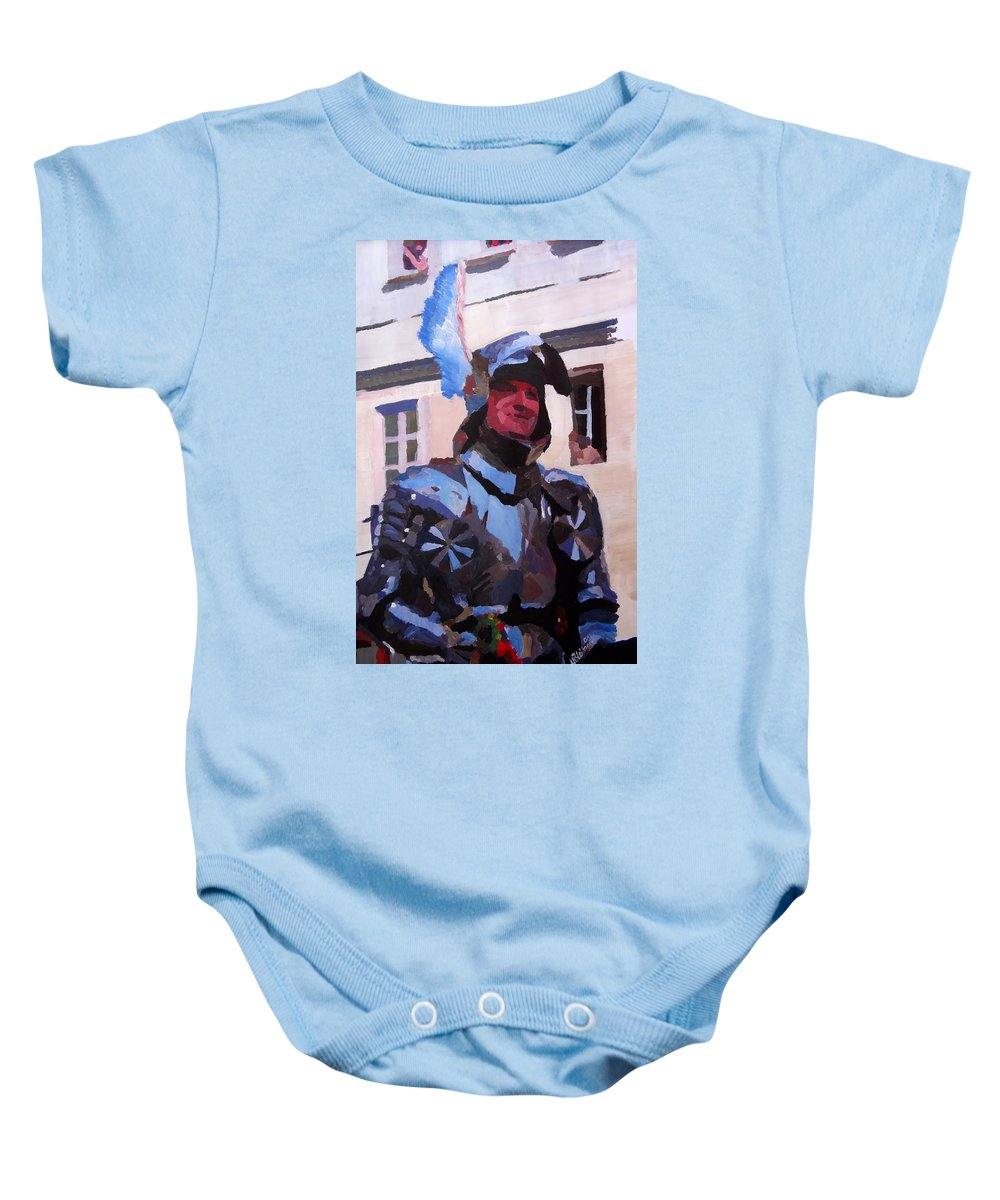Fine Art Print Baby Onesie featuring the painting Knight In Full Armor During Parade by M Bleichner