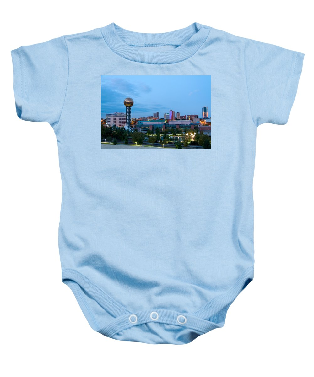 View Baby Onesie featuring the photograph Knoxville At Dusk by Melinda Fawver