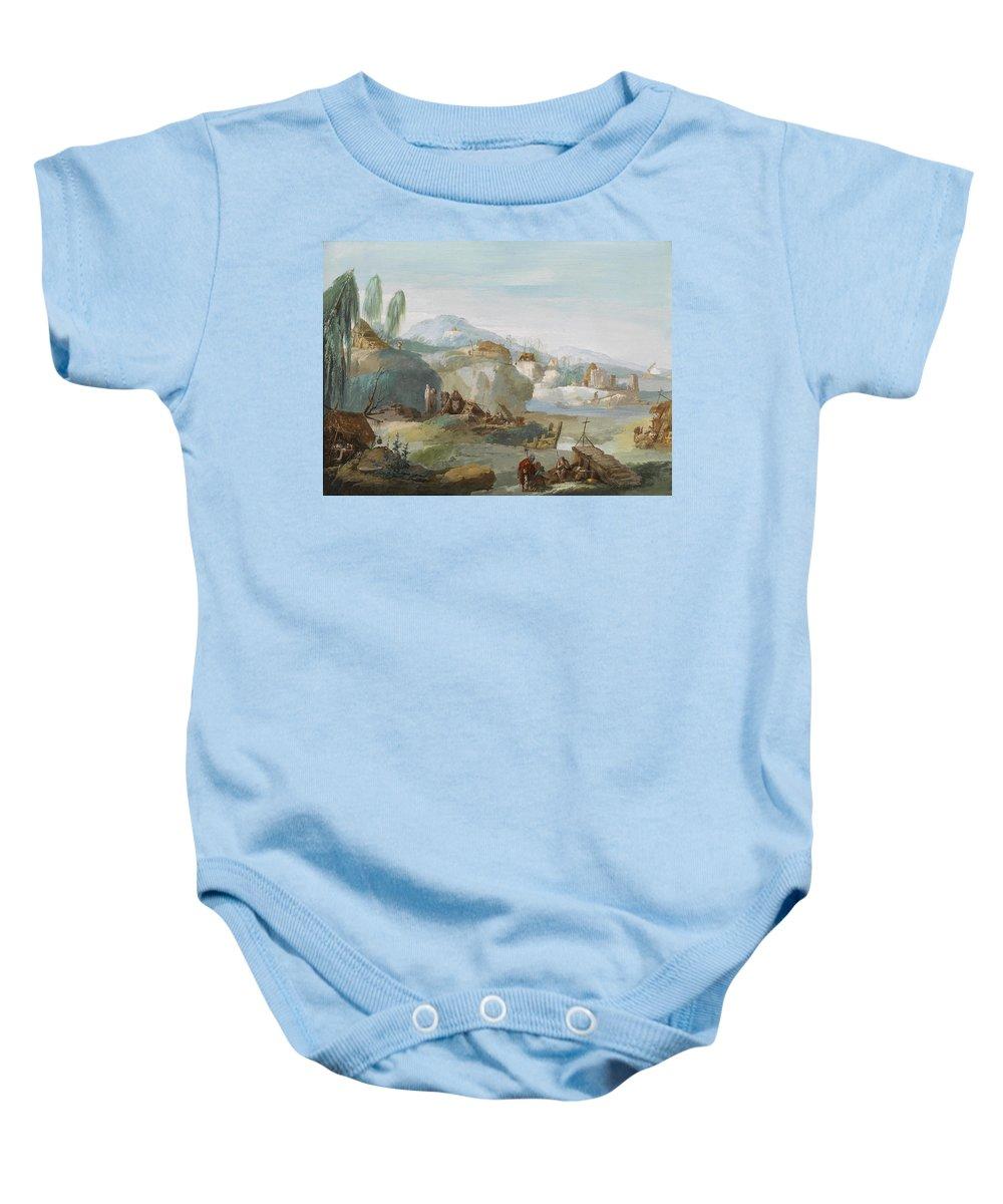 Giuseppe Bernardino Bison Baby Onesie featuring the painting La Tebaide by Giuseppe Bernardino Bison