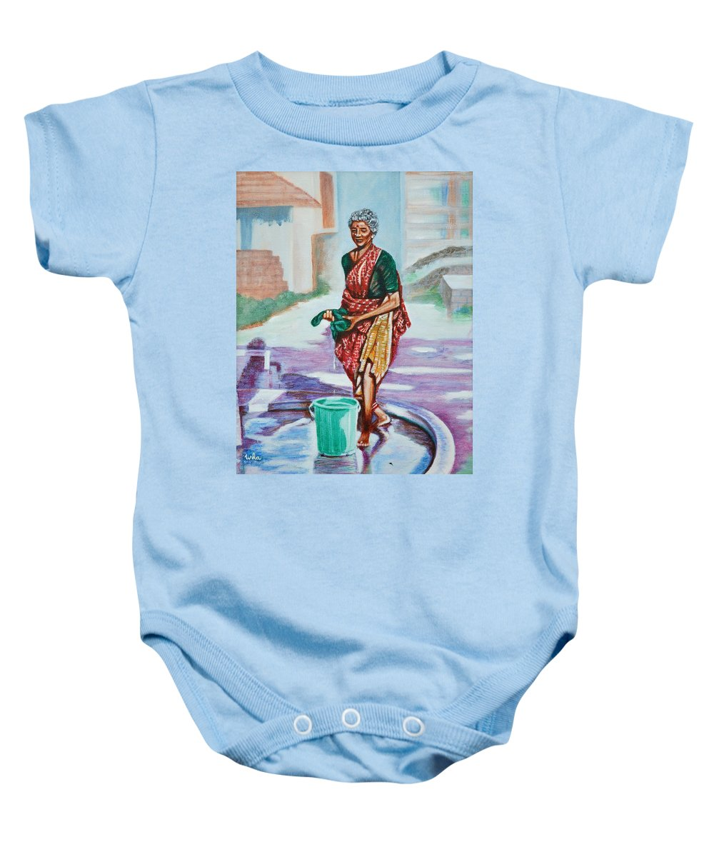 Lady Baby Onesie featuring the painting Lady Washing Clothes by Usha Shantharam