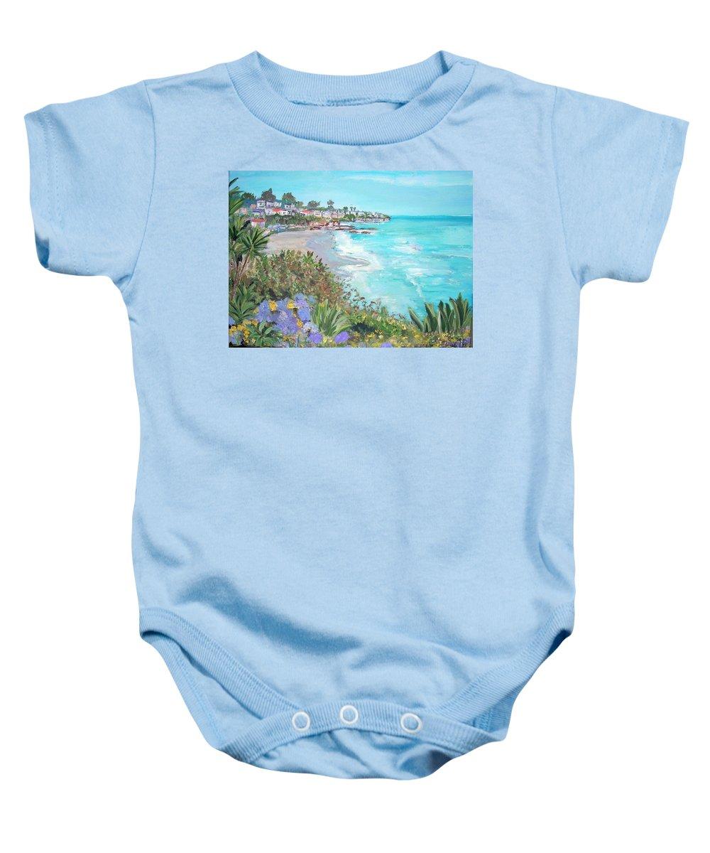 Laguna Baby Onesie featuring the painting Laguna Beach by Teresa Dominici