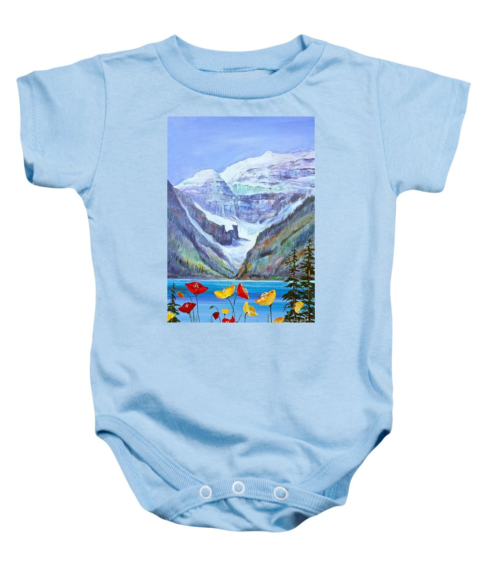 Lake Louise Baby Onesie featuring the painting Lake Louise Poppies by Virginia Ann Hemingson