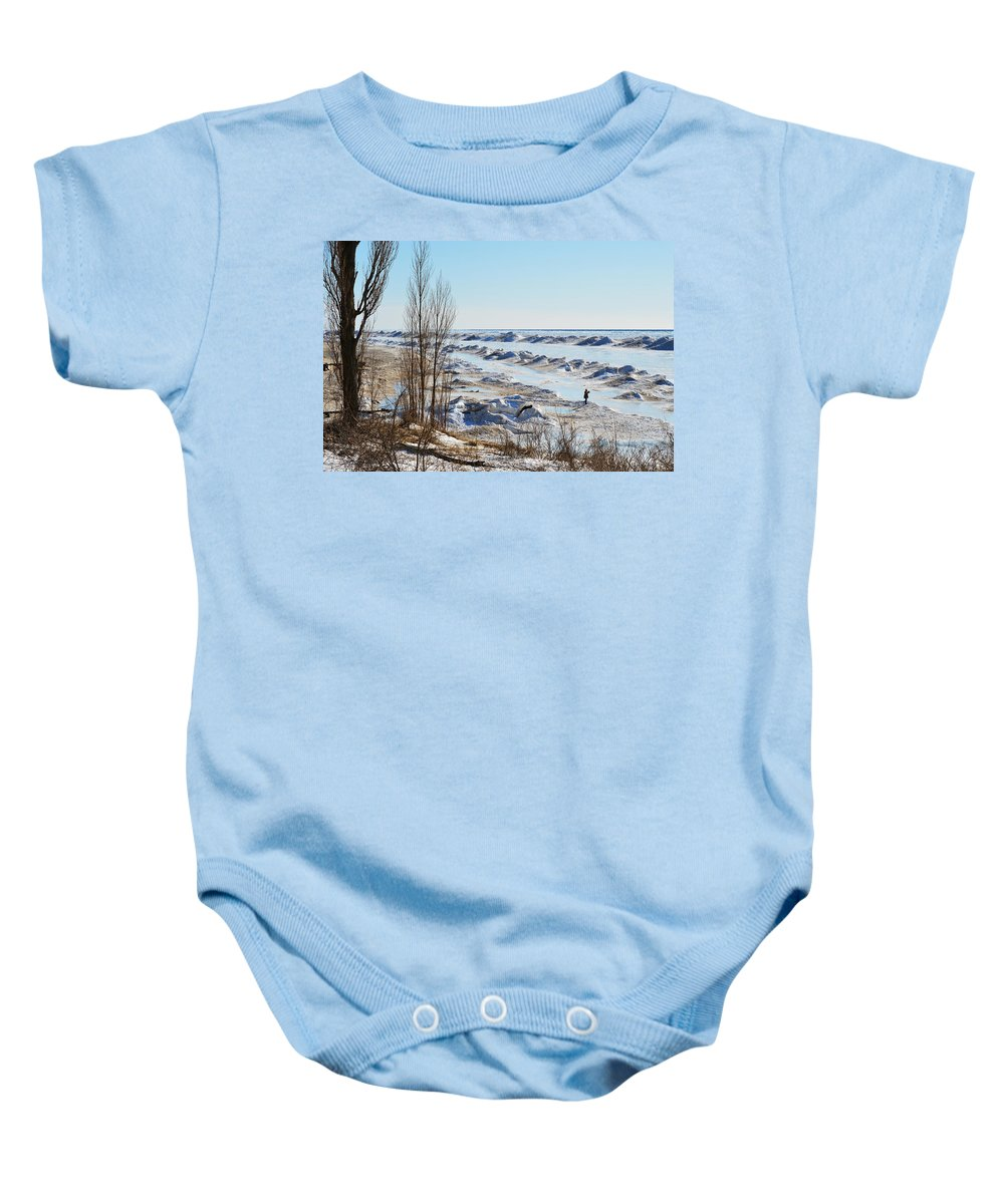 Michigan Baby Onesie featuring the photograph Lake Michigan In Ice by Linda Kerkau