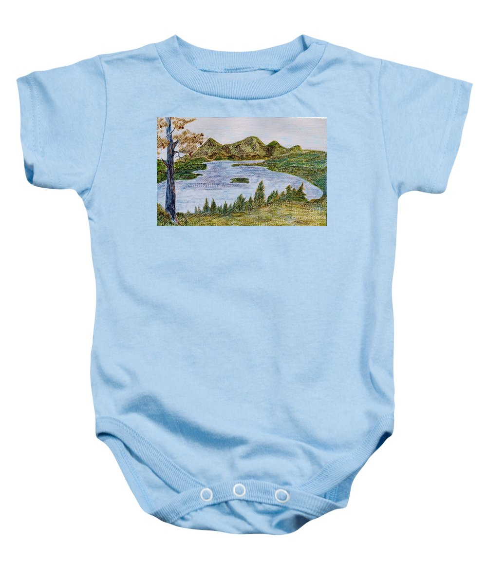 Landscape - Lake Tahoe Ca - Drawing Waterscape Scenery Trees Mountains Pine Tree; Black Brown Green Blue Orange Yellow Island Pinecones; Watercolor Ink Bushes; Mixed Media Baby Onesie featuring the painting Lake Tahoe by Myrtle Joy