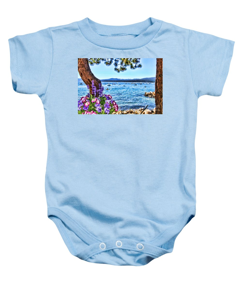 Lake Tahoe Baby Onesie featuring the photograph Lake View On Lake Tahoe By Diana Sainz by Diana Raquel Sainz
