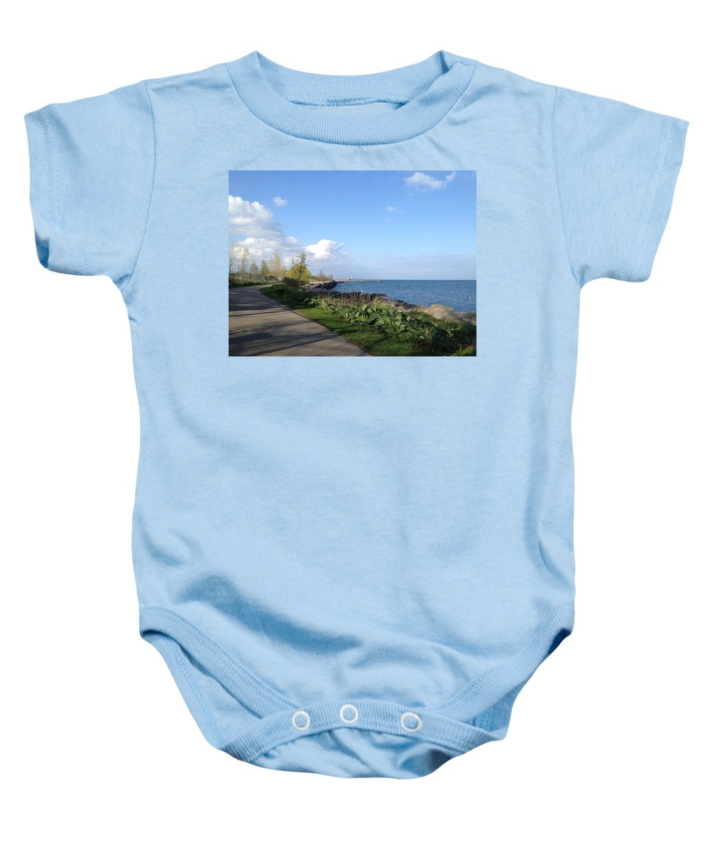 Lake Baby Onesie featuring the photograph Lakeside Walk by Pema Hou