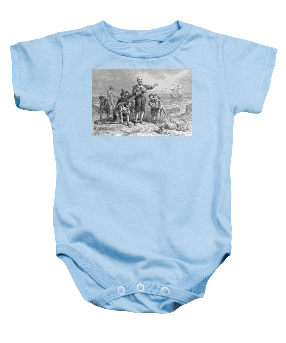 Pilgrim Fathers Baby Onesie featuring the photograph Landing Of The Pilgrims, 1620, Engraved By A. Bollett, From Harpers Monthly, 1857 Engraving B&w by Felix Octavius Carr Darley