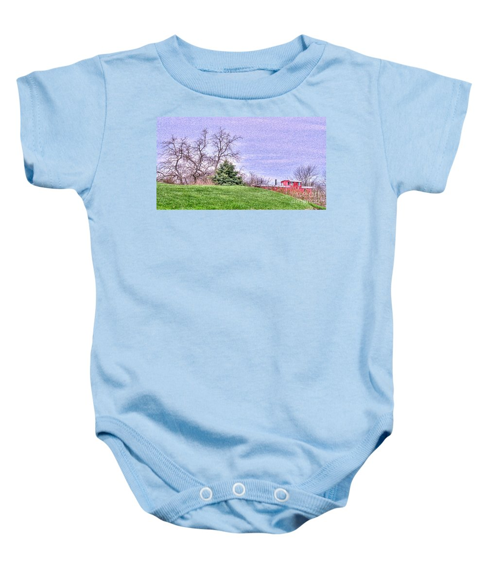 Little Red Caboose Baby Onesie featuring the photograph Landscape- Caboose - Little Red Caboose by L Wright