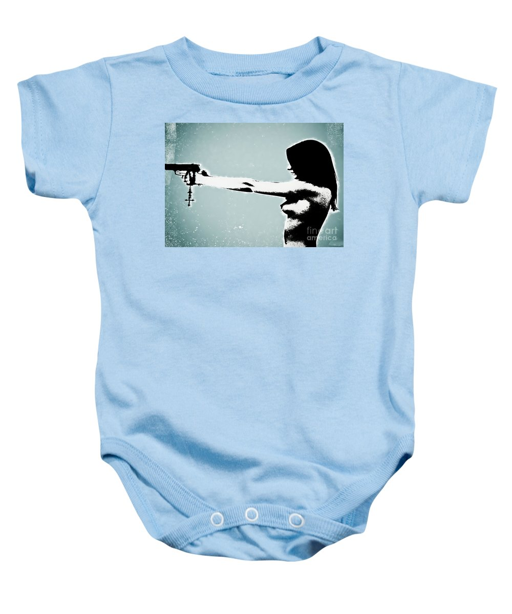 Dangerous Baby Onesie featuring the photograph Later by Digital Kulprits