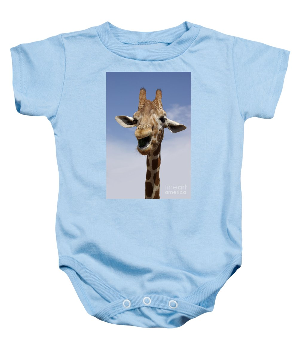 Laugh Baby Onesie featuring the photograph Laughing Giraffe by Jim And Emily Bush