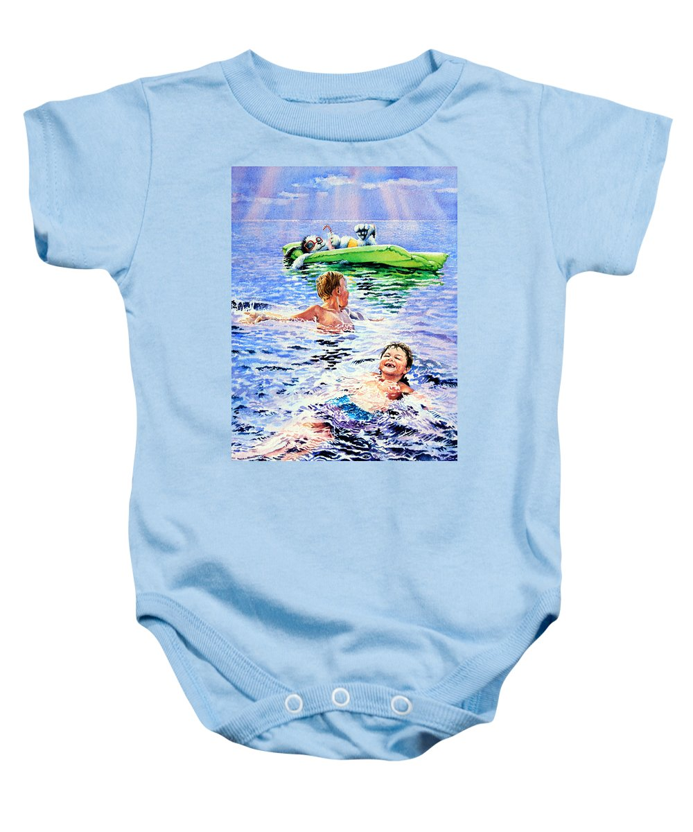 Boys Swimming Painting Baby Onesie featuring the painting Lazy Hazy Crazy Days by Hanne Lore Koehler