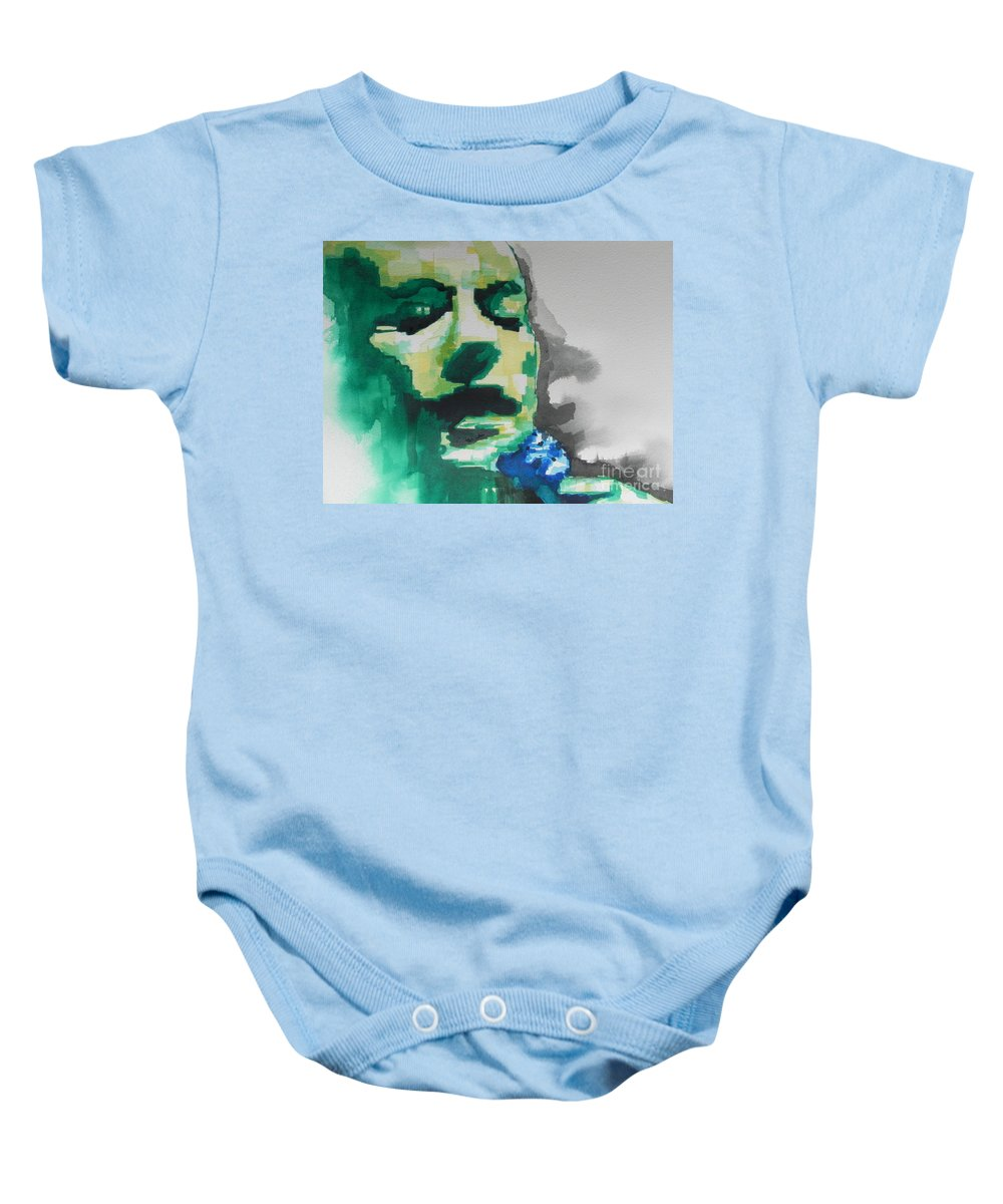 Watercolor Painting Baby Onesie featuring the painting Lead Singer Of The R E M Band by Chrisann Ellis