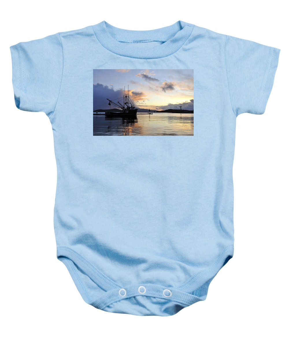 Sunset Baby Onesie featuring the photograph Leaving Safe Harbor by Cathy Mahnke