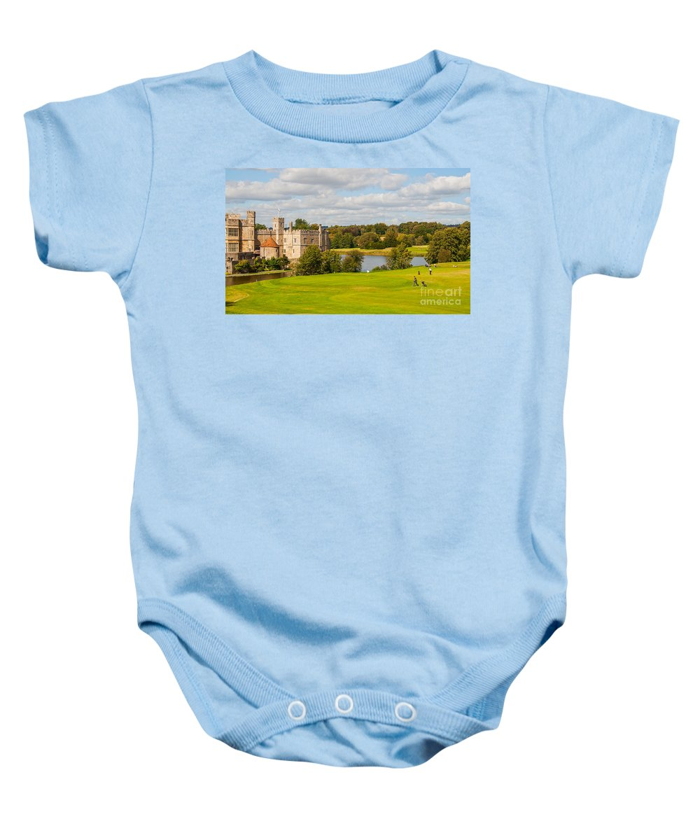 Leeds Castle Baby Onesie featuring the photograph Leeds Castle Golf 2 by Chris Thaxter