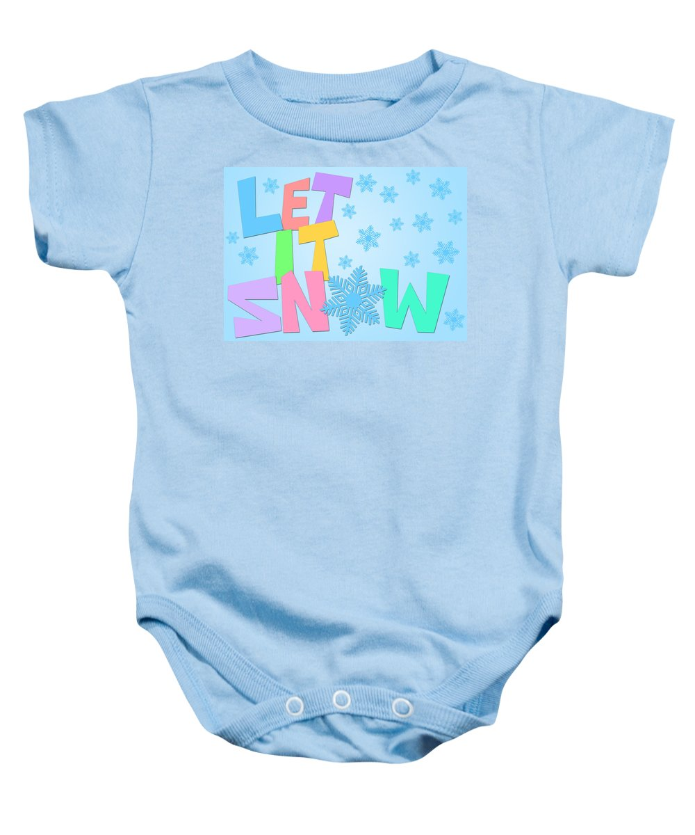 Let Baby Onesie featuring the digital art Let It Snow Freehand Drawn Text With Snowflakes Color by Jit Lim