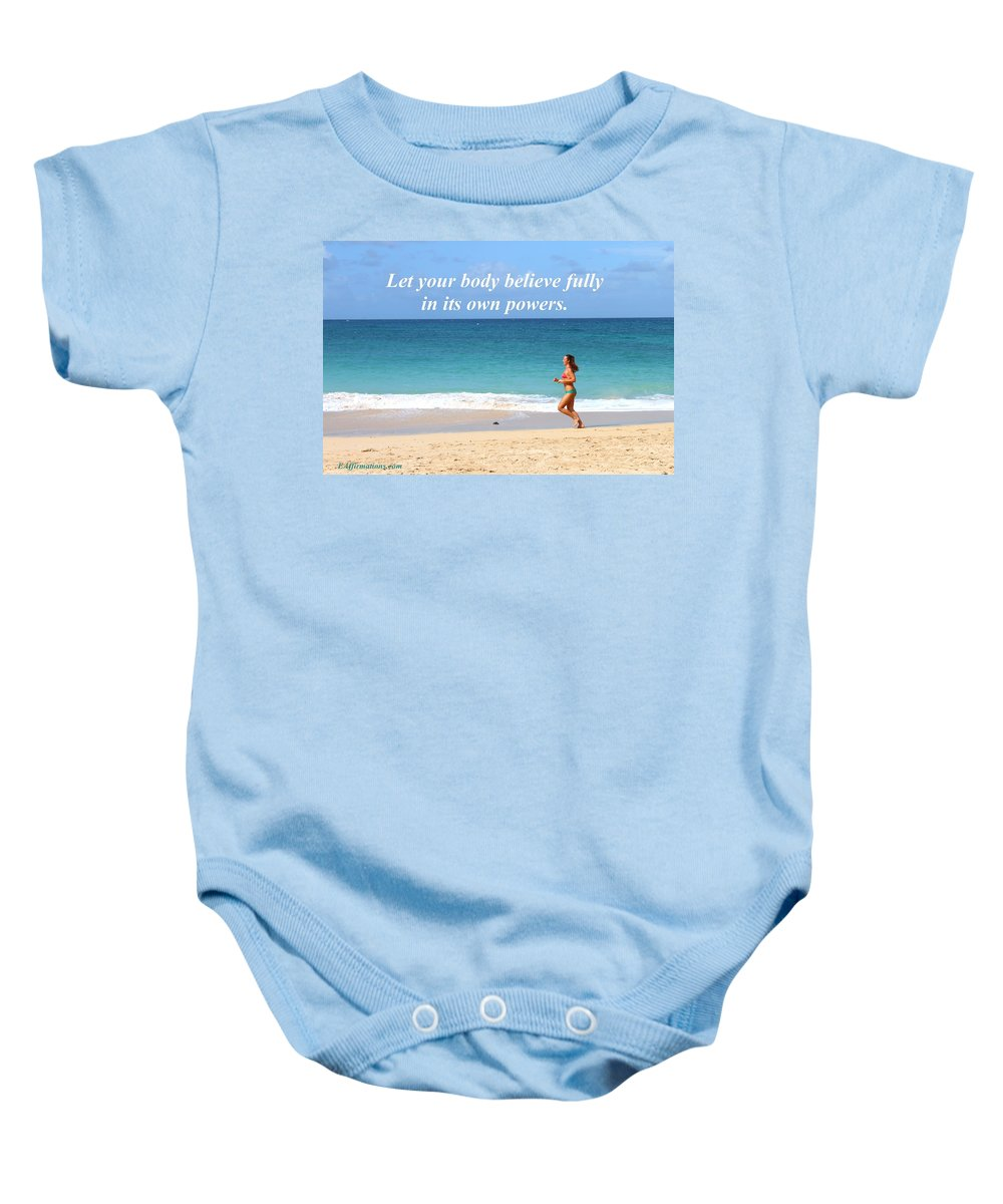 Ocean Baby Onesie featuring the photograph Let Your Body Believe by Pharaoh Martin