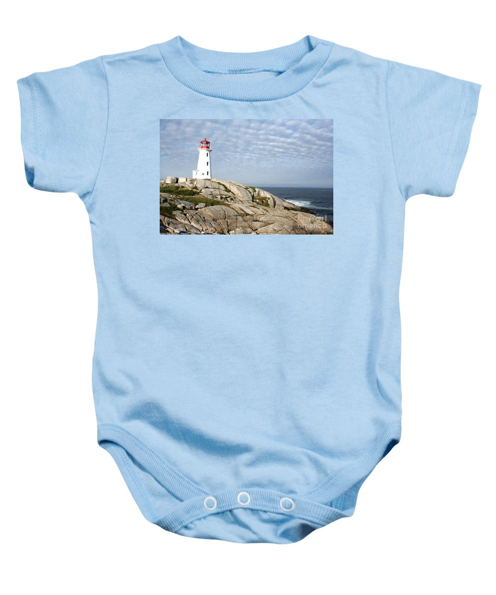 Lighthouse Baby Onesie featuring the photograph Lighthouse At Peggys Point Nova Scotia by Thomas Marchessault