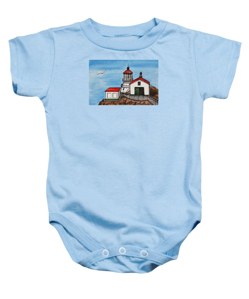 Lighthouse Baby Onesie featuring the painting Lighthouse by Masha Batkova