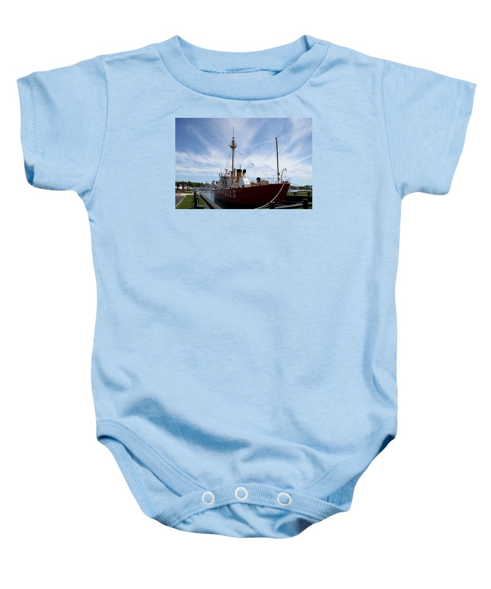 Lightvessel Baby Onesie featuring the photograph Lightvessel Overfalls II by Christiane Schulze Art And Photography