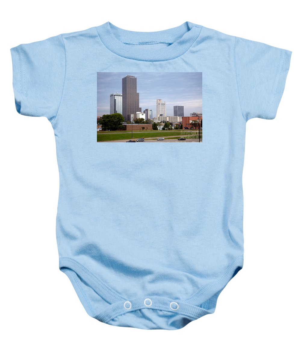 Bank Of Americal Plaza Baby Onesie featuring the photograph Little Rock Arizona Skyline by Bill Cobb
