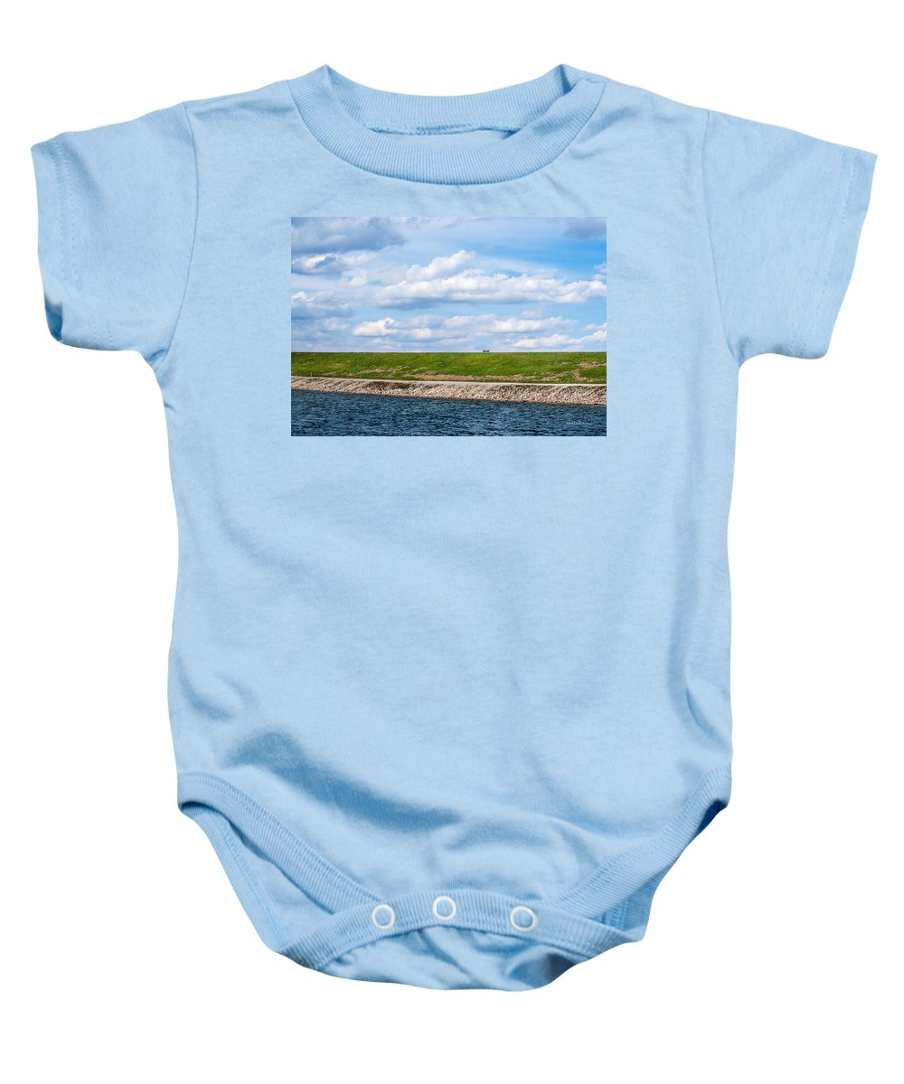 Lake Zorinsky Baby Onesie featuring the photograph Lonely Bench by Edward Peterson