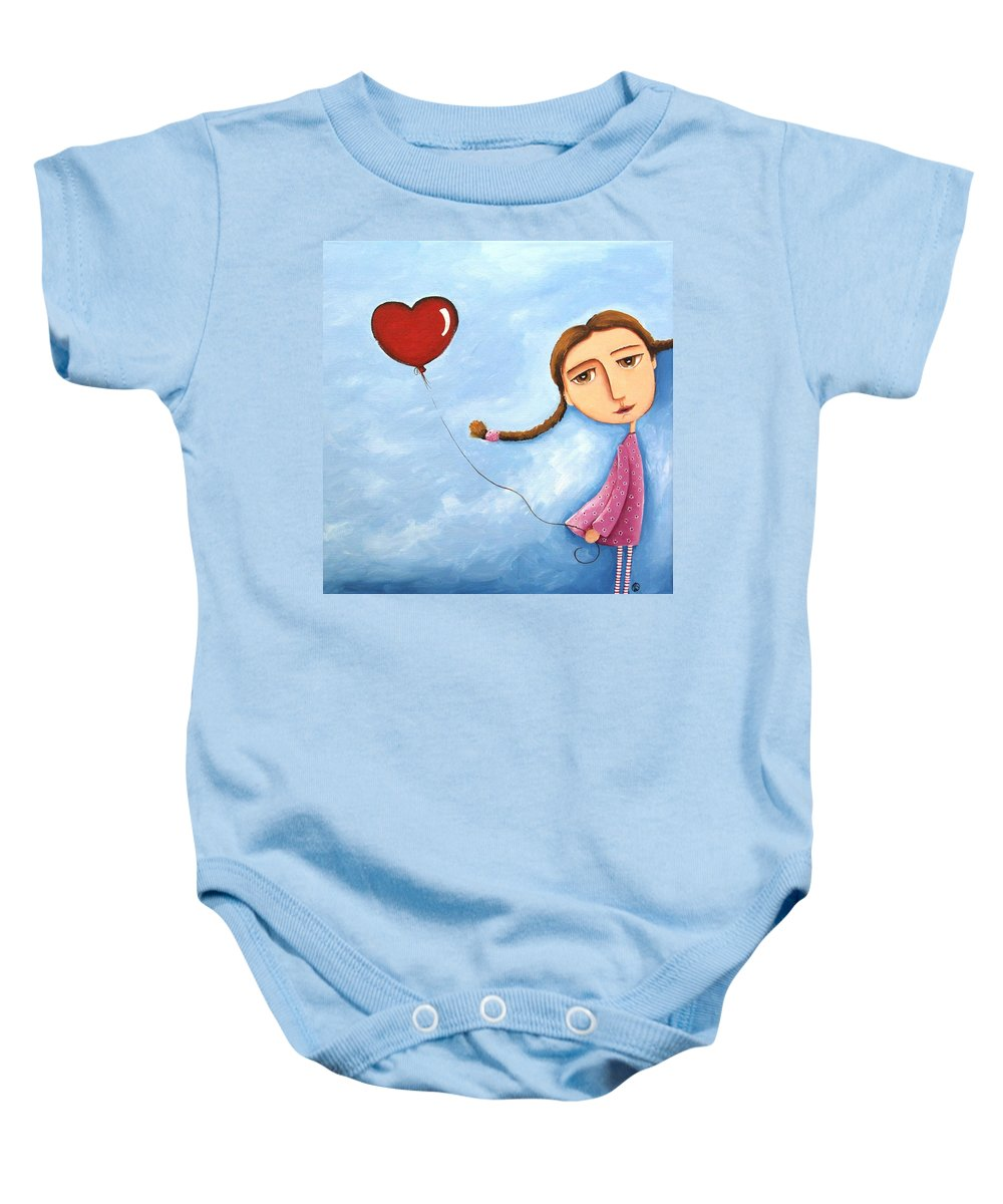 Lucia Stewart Baby Onesie featuring the painting Lonely Girl by Lucia Stewart