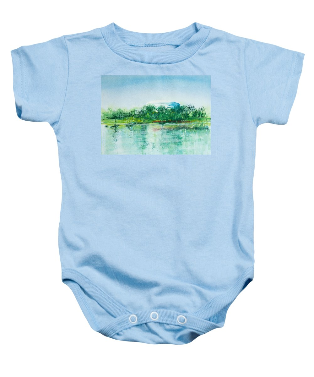 Watercolor Baby Onesie featuring the painting Long Beach Convention Center Arena by Debbie Lewis