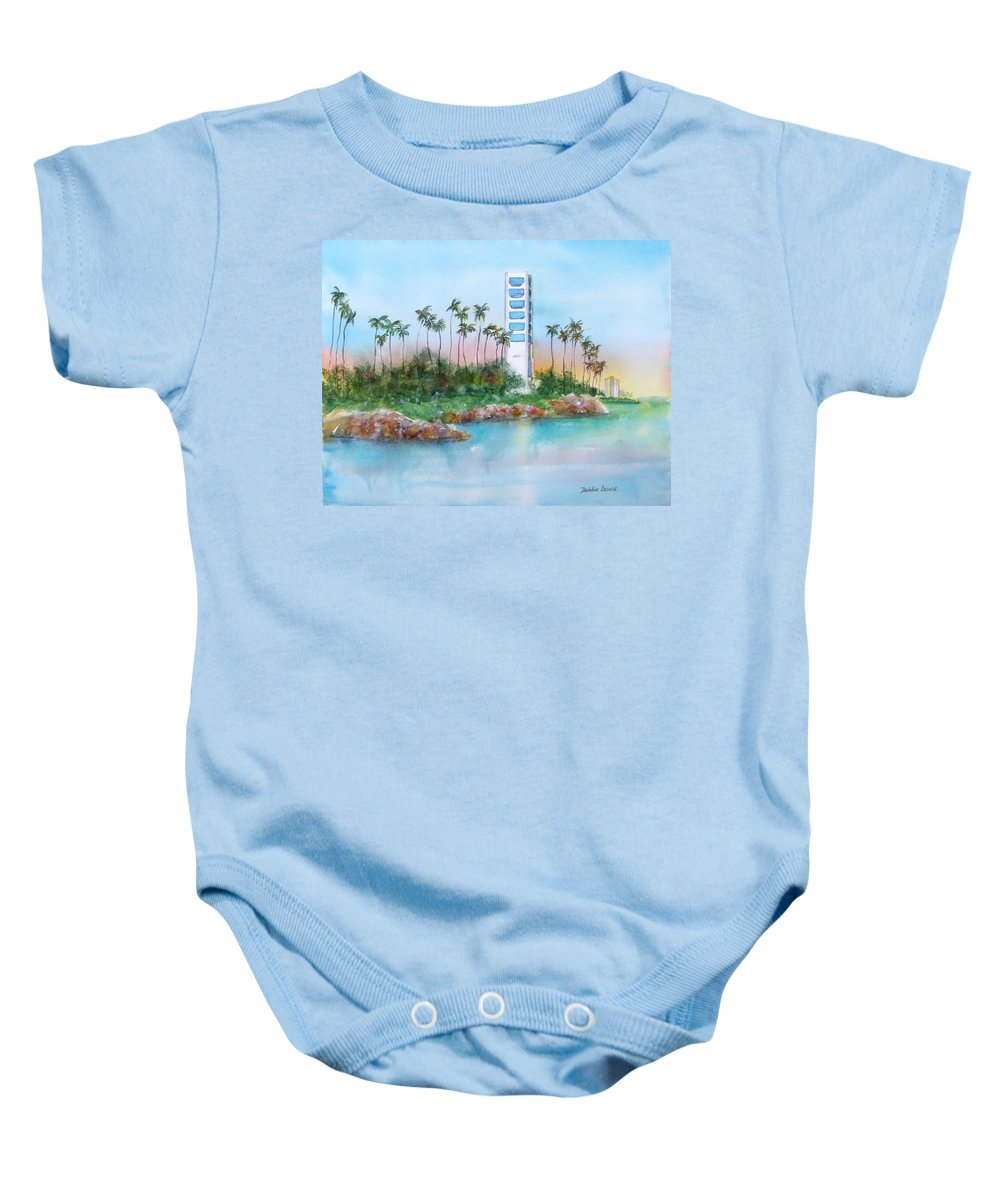 Watercolor Landscape Baby Onesie featuring the painting Long Beach Oil Island by Debbie Lewis