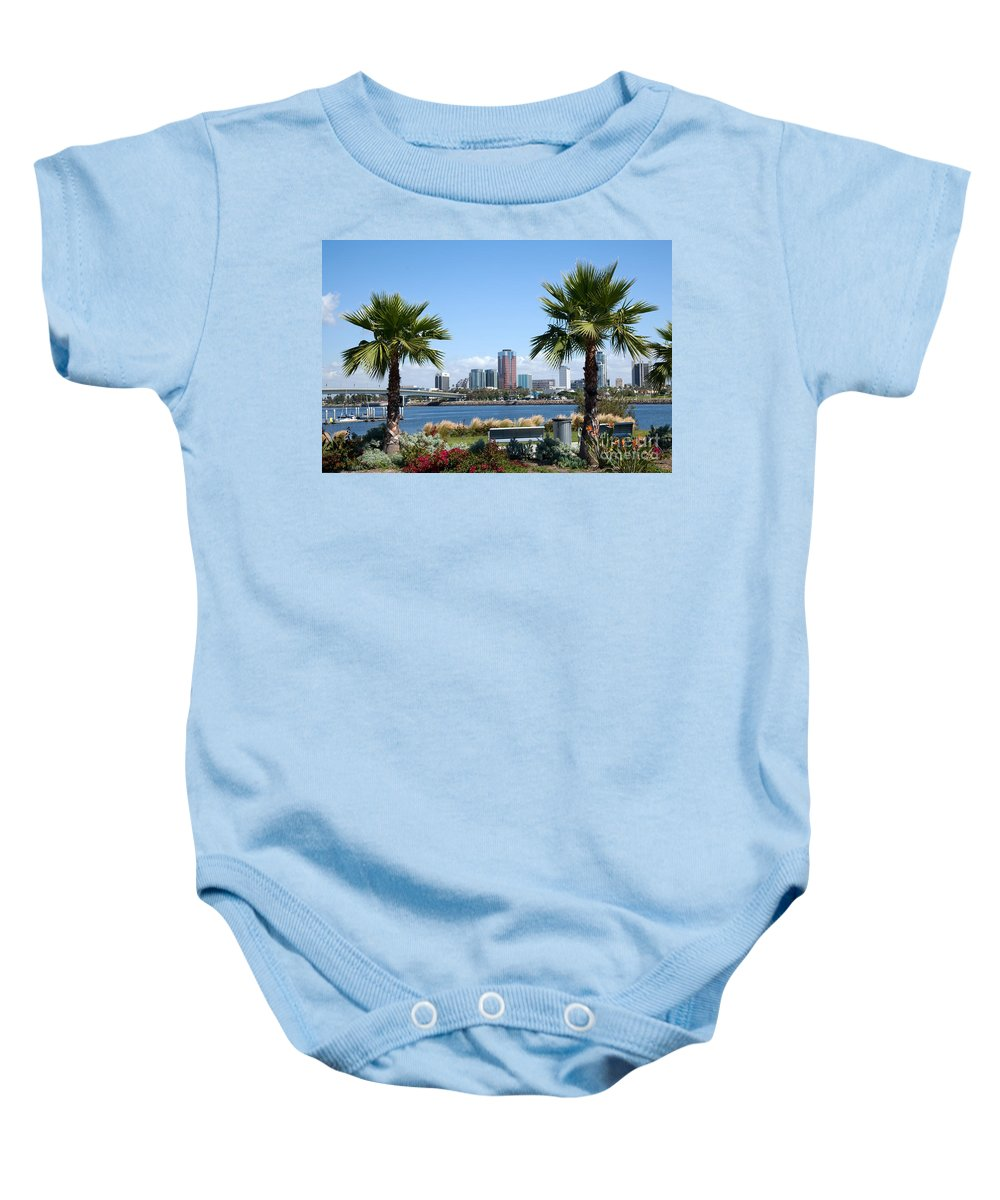 Long Beach Baby Onesie featuring the photograph Long Beach Skyline by Bill Cobb