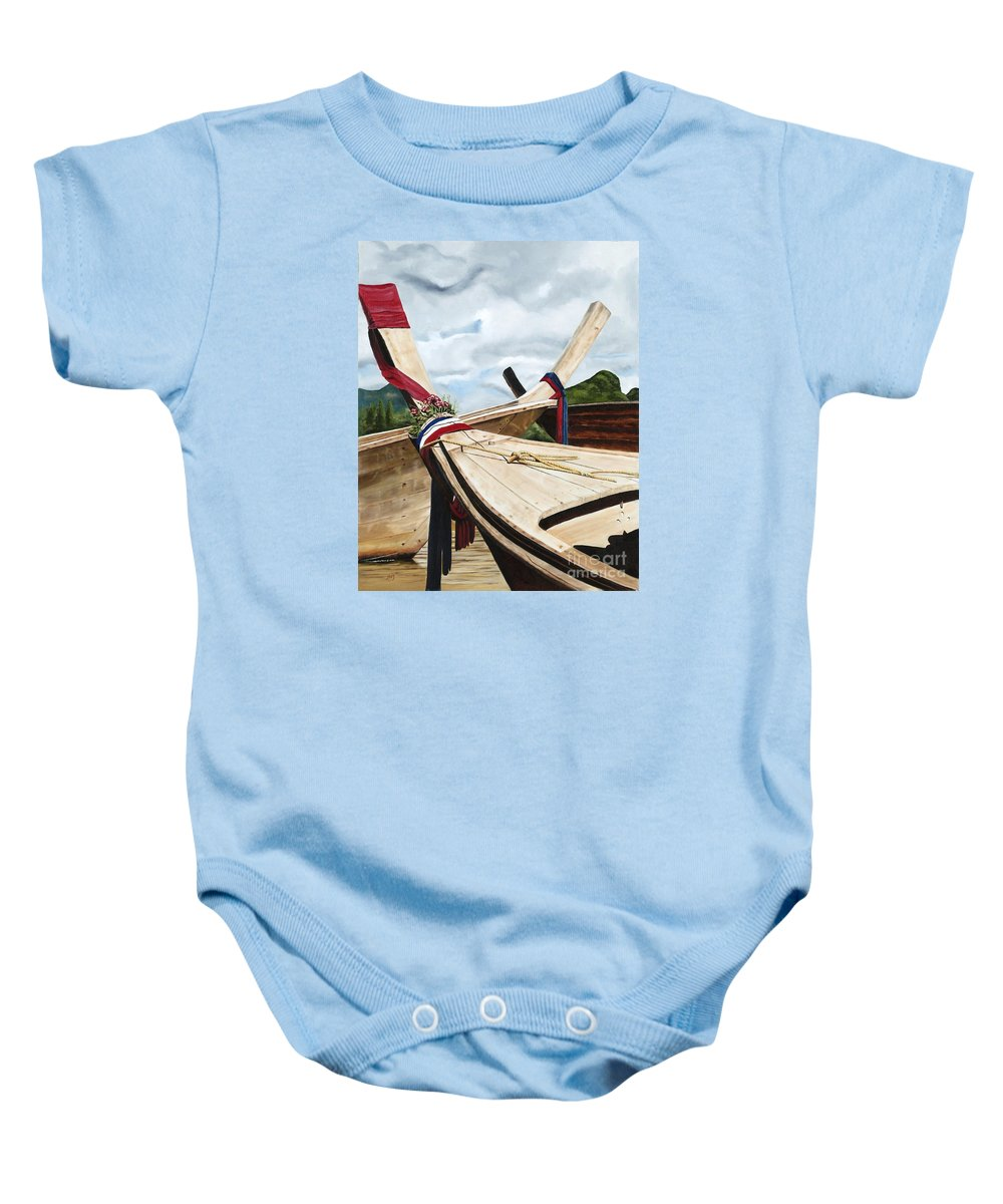 Art Baby Onesie featuring the painting Long Tail Boats Of Krabi by Mary Rogers