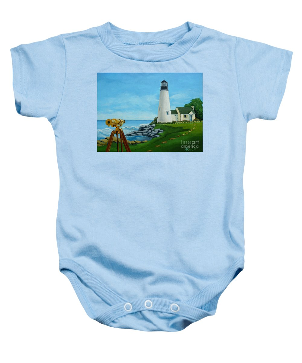 Lighthouse Baby Onesie featuring the painting Looking Out To Sea by Anthony Dunphy