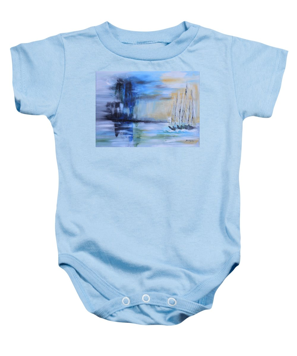 Sailboats Baby Onesie featuring the painting Looming In The Distance by Donna Blackhall